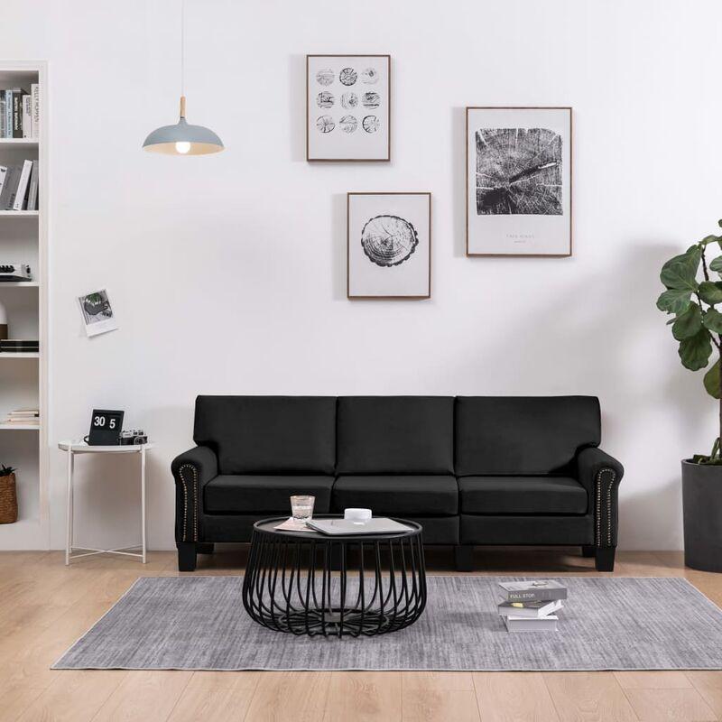 3-Sitzer-Sofa Schwarz Stoff 37215 - Topdeal