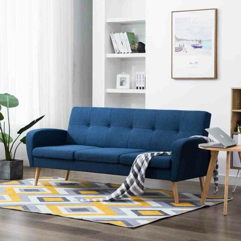 3-Sitzer-Sofa Stoff Blau 12910 - Topdeal