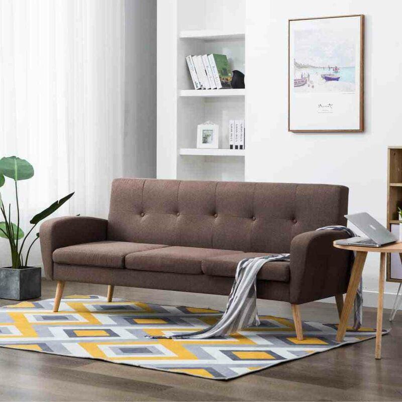 Topdeal 3-Sitzer-Sofa Stoff Braun 12906