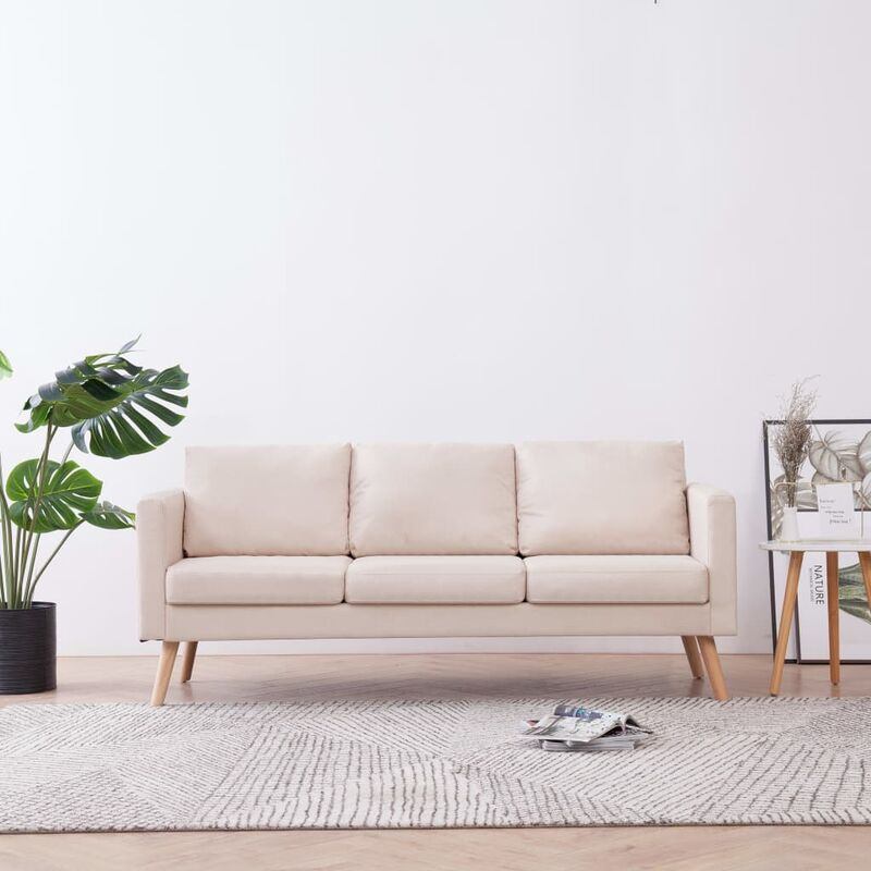 3-Sitzer-Sofa Stoff Cremeweiß 22951 - Topdeal