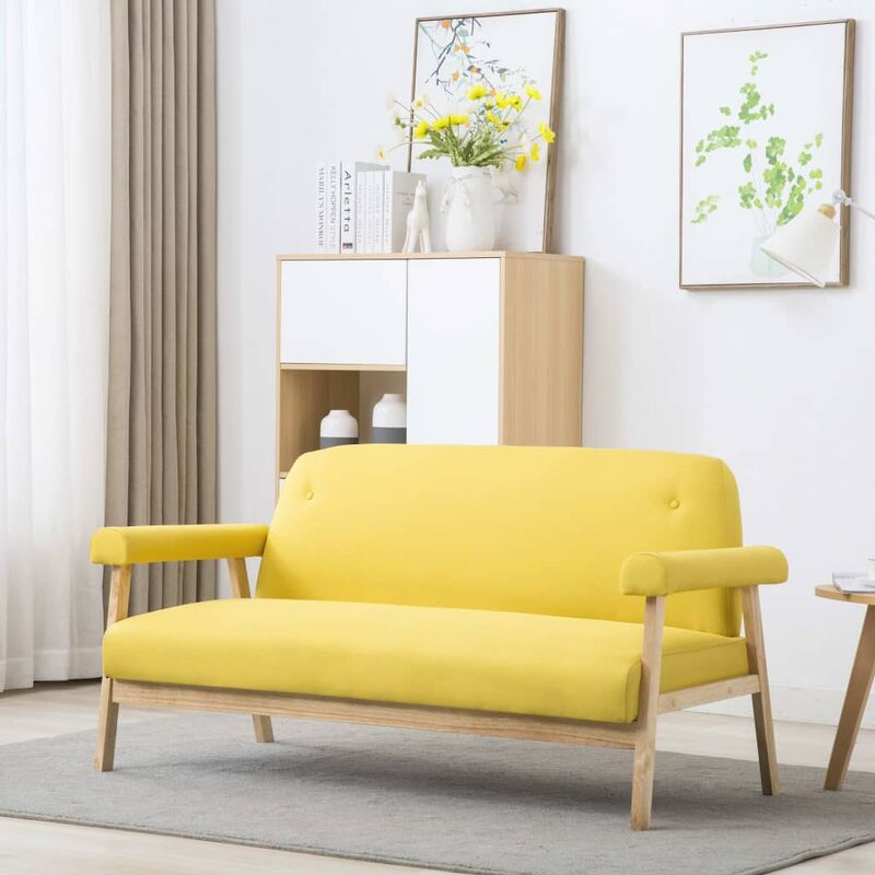 3-Sitzer-Sofa Stoff Gelb 12579 - Topdeal