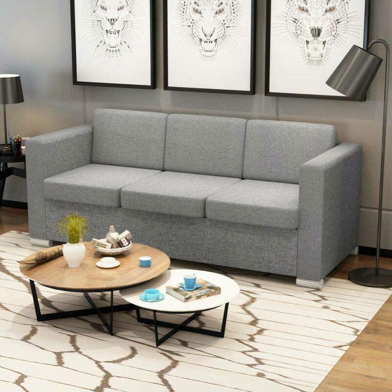 Topdeal 3-Sitzer Sofa Stoff Hellgrau 09916