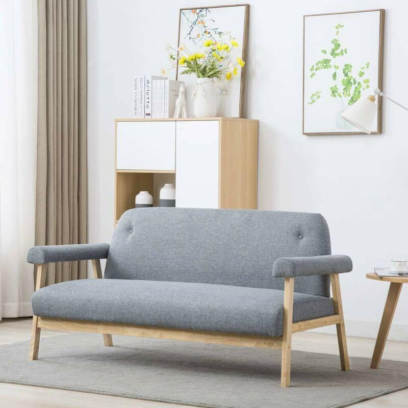 3-Sitzer-Sofa Stoff Hellgrau 12570 - Topdeal