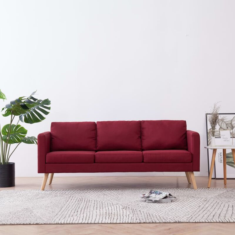 3-Sitzer-Sofa Stoff Weinrot 22963 - Topdeal