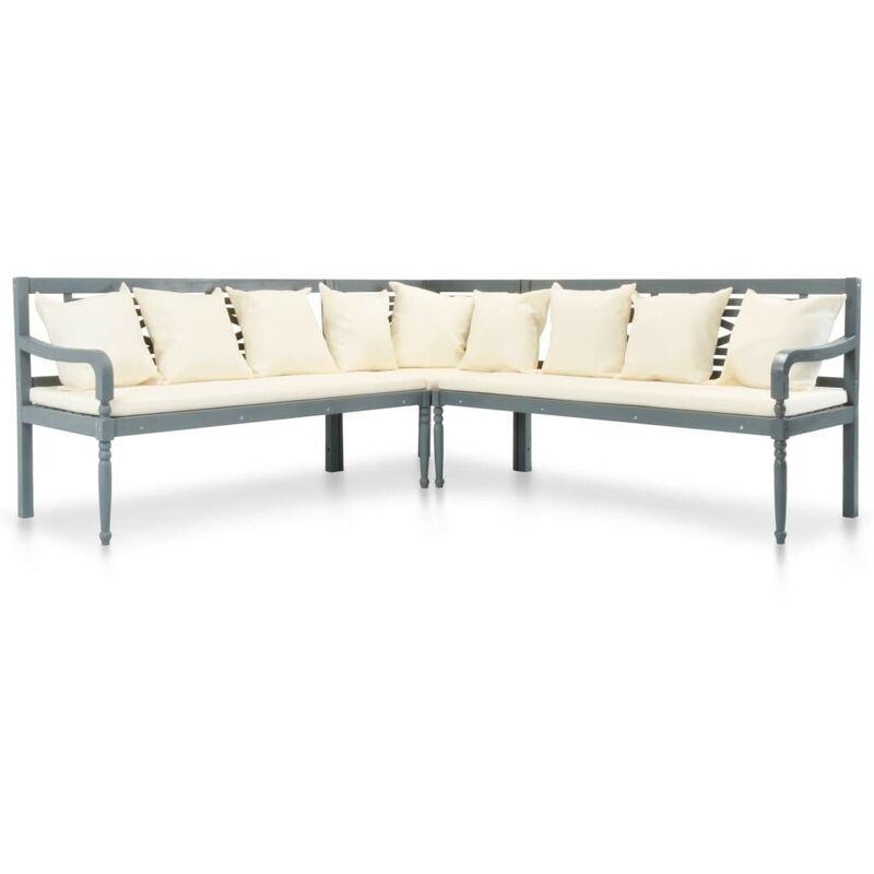 Topdeal 3-tlg. Gartensofa mit Auflagen Akazie Massivholz Grau 27150