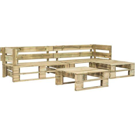 Topdeal 4 Piece Garden Lounge Set Pallets FSC Wood Green VDTD19135