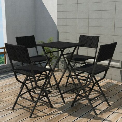 Topdeal 5 Piece Folding Outdoor Dining Set Steel Poly Rattan Black VDTD27339
