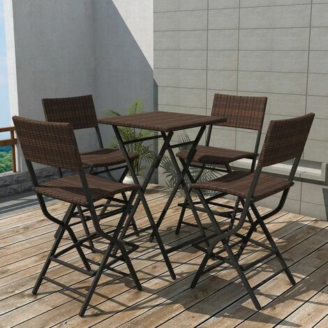 Topdeal 5 Piece Folding Outdoor Dining Set Steel Poly Rattan Brown VDTD27338