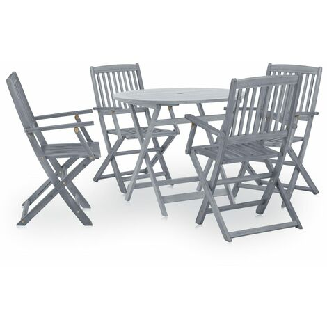 Topdeal 5 Piece Garden Dining Set Solid Acacia Wood Grey VDTD29986