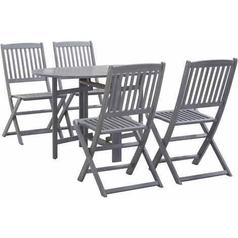 Topdeal 5 Piece Garden Dining Set Solid Acacia Wood Grey VDTD36110