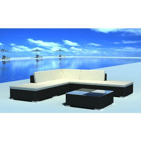Topdeal 6 Piece Garden Lounge Set with Cushions Poly Rattan Black VDTD33957