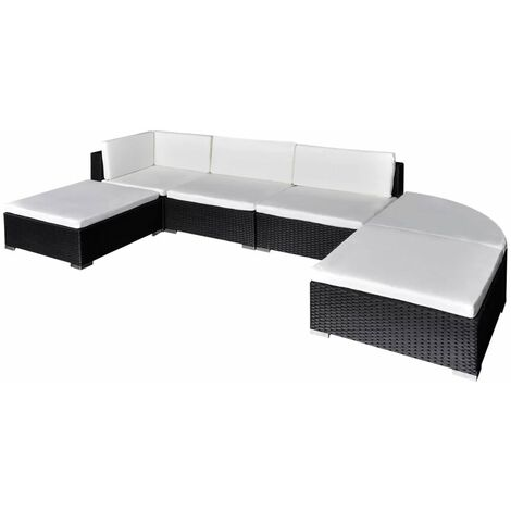 Topdeal 6 Piece Garden Lounge Set with Cushions Poly Rattan Black VDTD33968