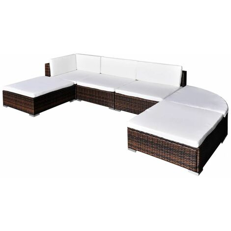 Topdeal 6 Piece Garden Lounge Set with Cushions Poly Rattan Brown VDTD33967