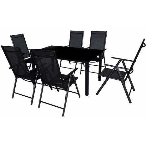 Topdeal 7 Piece Outdoor Dining Set with Folding Chairs Aluminium Black VDTD26672