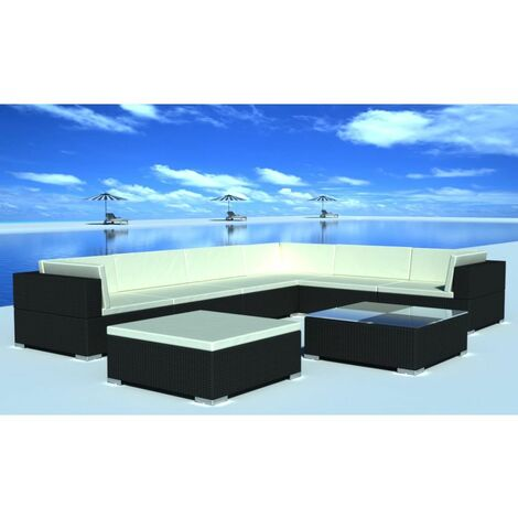Topdeal 8 Piece Garden Lounge Set with Cushions Poly Rattan Black VDTD33959