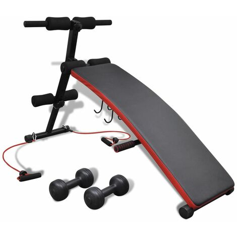 Topdeal Adjustable Multifunctional Sit Up Bench with 3 kg Dumbbells VDTD32096