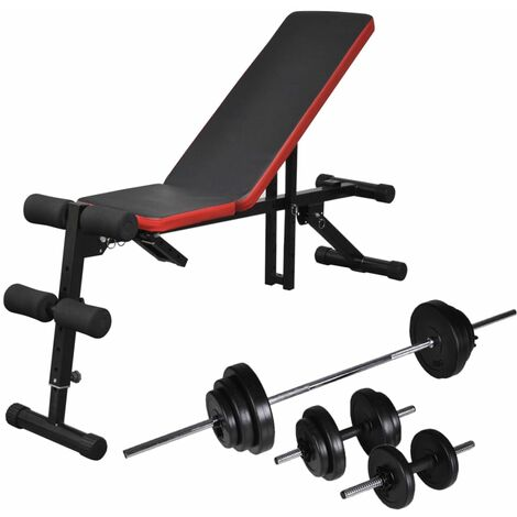 Topdeal Adjustable Sit-up Bench with Barbell and Dumbbell Set 30.5 kg VDTD18282