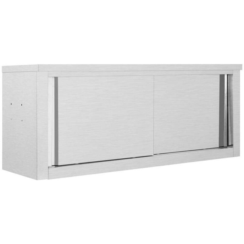 Topdeal VDTD30837_FR Armoire de cuisine avec portes coulissantes 120x40x50 cm Inox