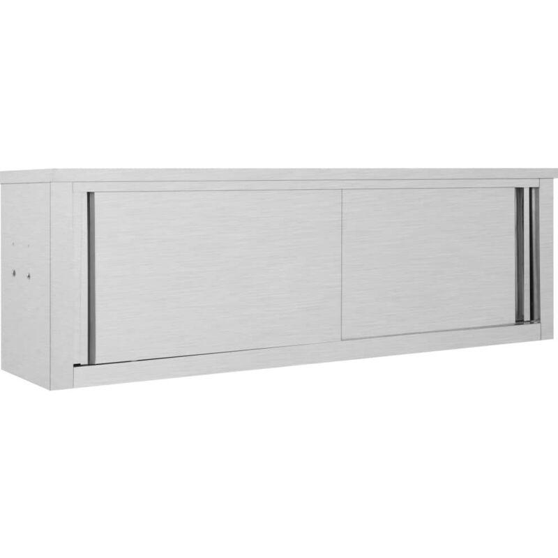 Topdeal VDTD30838_FR Armoire de cuisine avec portes coulissantes 150x40x50 cm Inox
