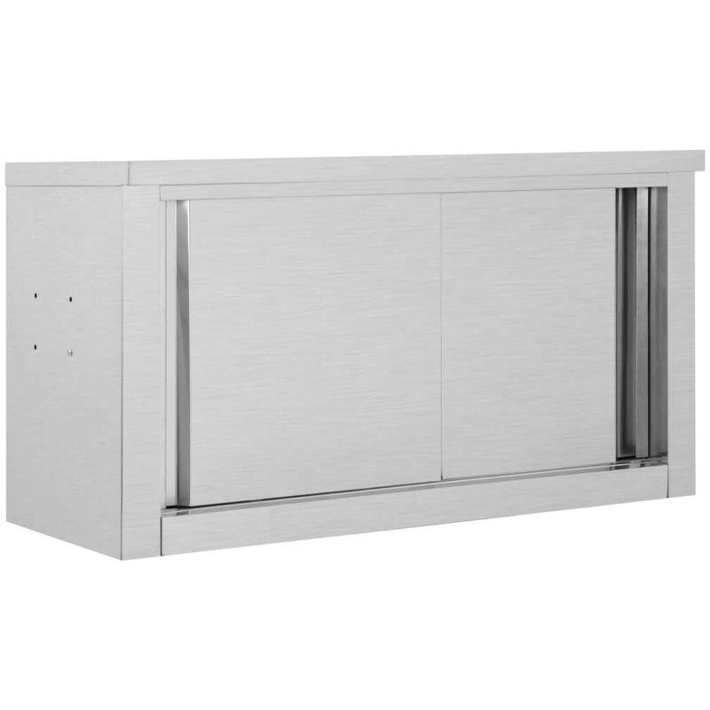 VDTD30836_FR Armoire de cuisine avec portes coulissantes 90x40x50 cm Inox - Topdeal