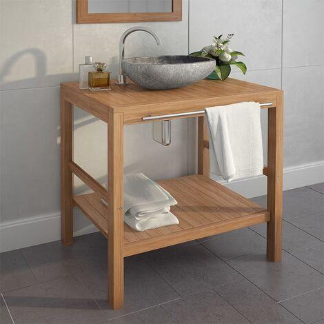 Topdeal Armoire de toilette Teck solide et lavabo en pierre de rivière