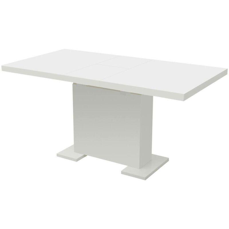 Ausziehbarer Esstisch Hochglanz Weiß 09885 - Topdeal