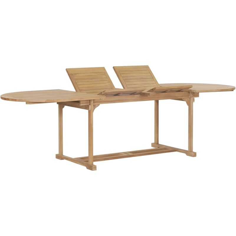 Topdeal Ausziehbarer Gartentisch 180-280x100x75 cm Massivholz Teak 28867