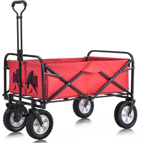 Topdeal B2BFR02144_FR Chariot pliable à l'extérieur Chariot tout-terrain avec roues de frein larges, porte-gobelets en filet, poignée réglable, sac en tissu, rouge