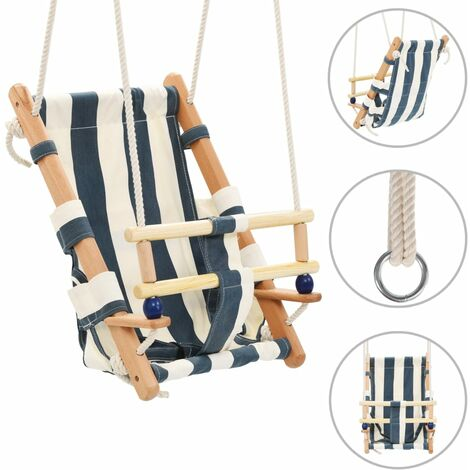 Topdeal Baby Swing with Safety Belt Cotton Wood Blue VDTD32753