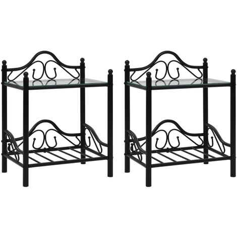 Topdeal Bedside Tables 2pcs Steel and Tempered Glass 45x30.5x60cm Black VDTD12652