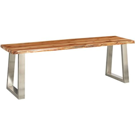 Topdeal Bench 140 cm Solid Acacia Wood and Stainless Steel VDTD24540