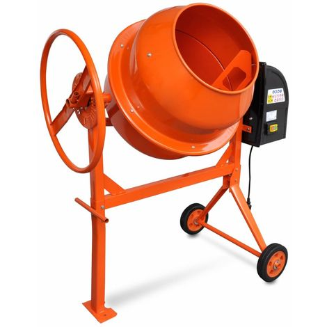Topdeal Bétonnière 140 L 650 W Acier Orange