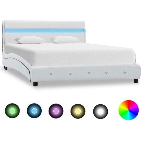 Topdeal Bettgestell mit LED Weiß Kunstleder 140x200 cm 22480