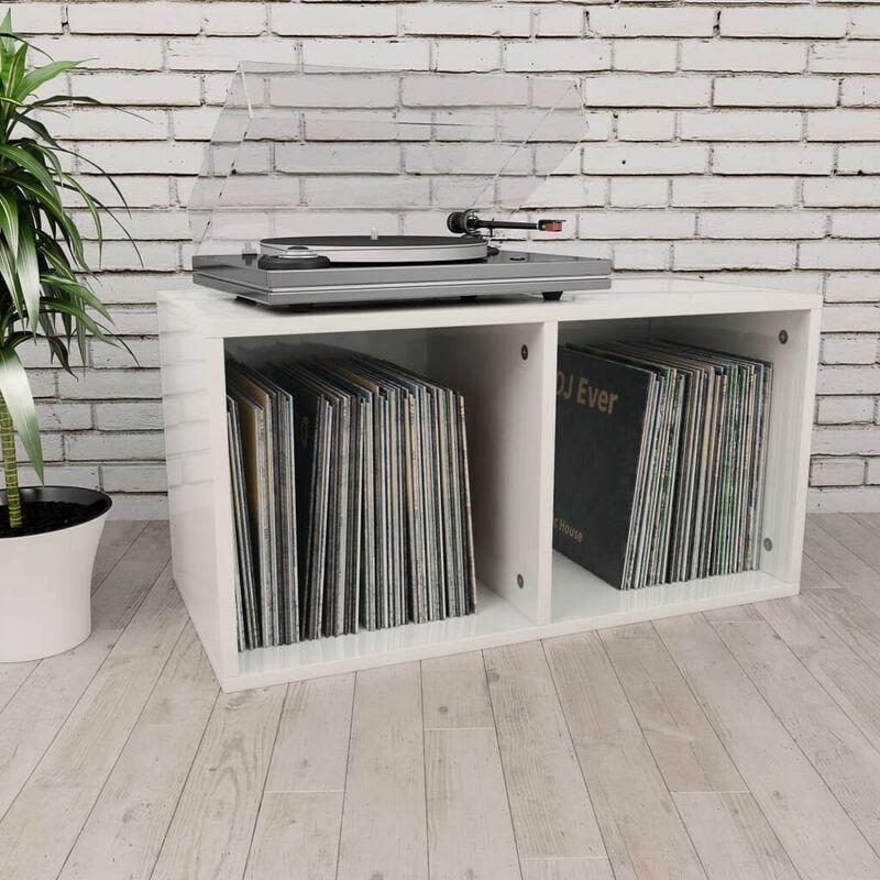 Topdeal VDTD31152_FR Boîte de rangement de vinyles Blanc brillant 71x34x36 cm