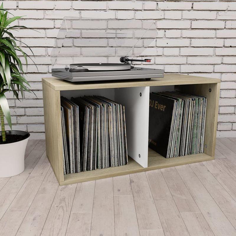 Topdeal VDTD31151_FR Boîte de rangement de vinyles Blanc et Chêne sonoma 71x34x36cm