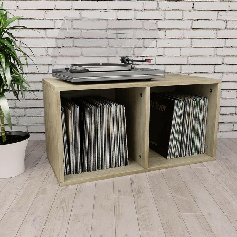 Topdeal VDTD31149_FR Boîte de rangement de vinyles Chêne sonoma 71x34x36cm Aggloméré
