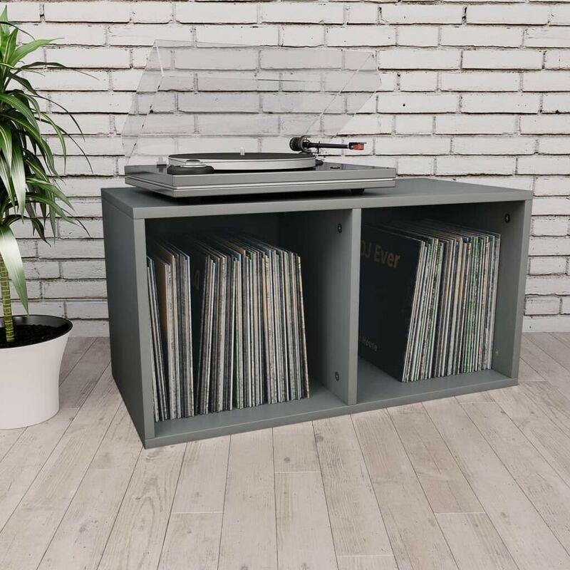Topdeal VDTD31148_FR Boîte de rangement de vinyles Gris 71x34x36 cm Aggloméré