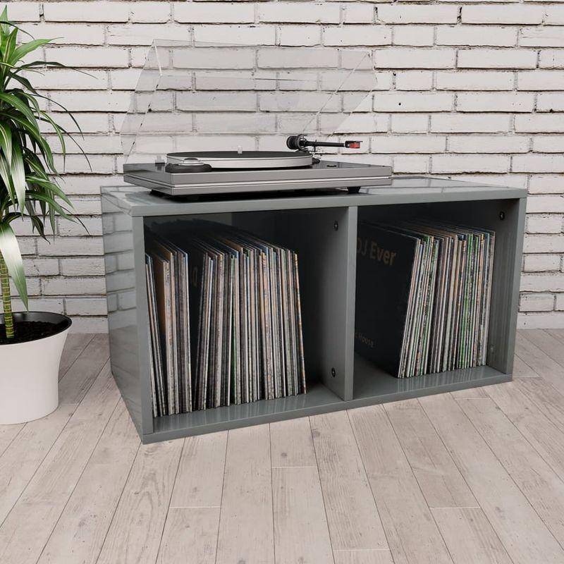 Topdeal VDTD31154_FR Boîte de rangement de vinyles Gris brillant 71x34x36 cm