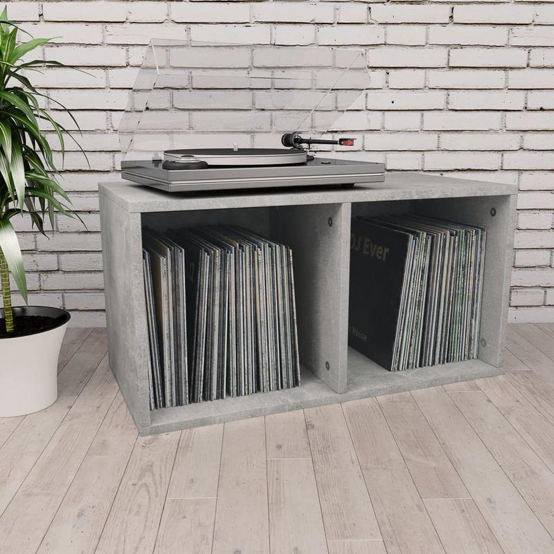 Topdeal VDTD31150_FR Boîte de rangement de vinyles Gris cement 71x34x36 cm Aggloméré