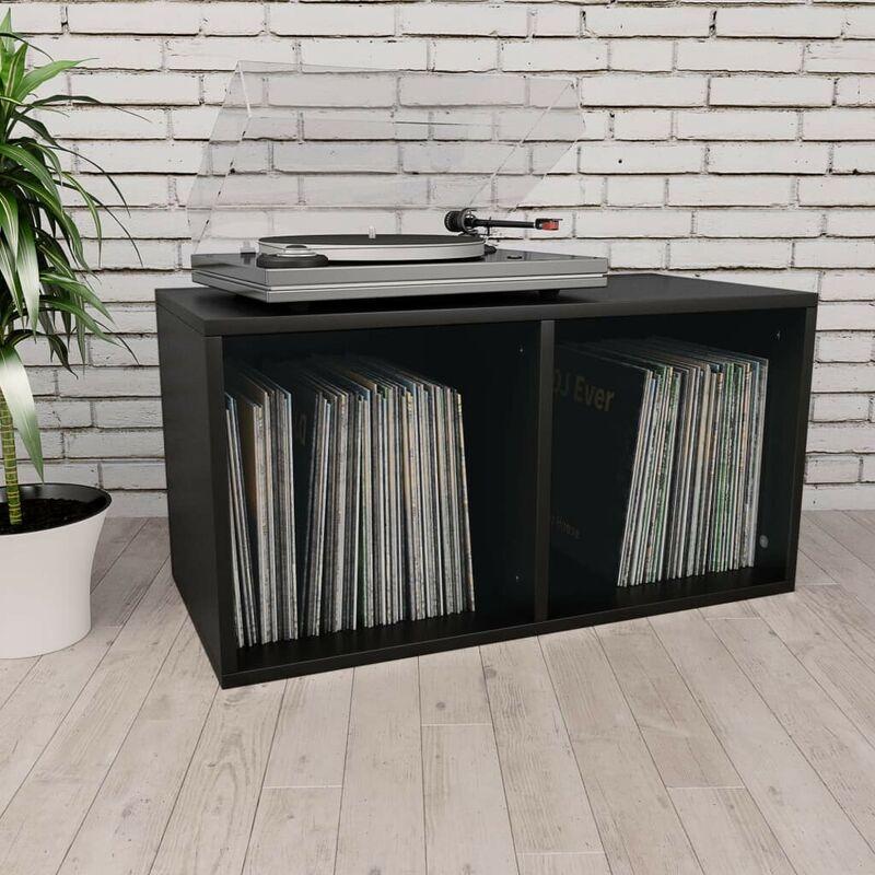 Topdeal VDTD31147_FR Boîte de rangement de vinyles Noir 71x34x36 cm Aggloméré