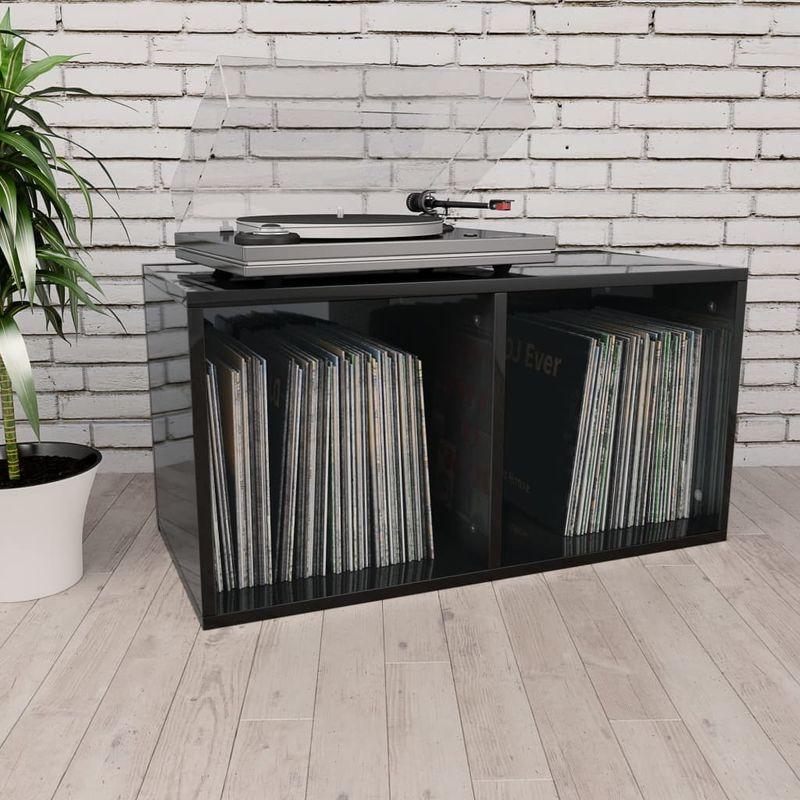 Topdeal VDTD31153_FR Boîte de rangement de vinyles Noir brillant 71x34x36 cm