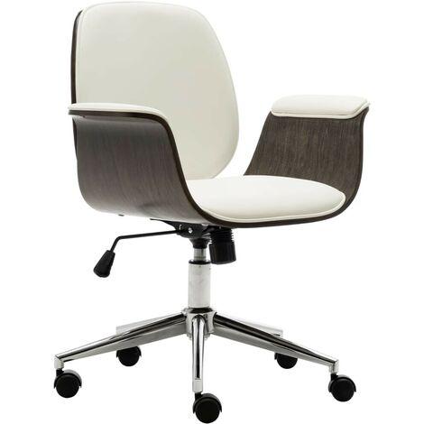 Topdeal Bürostuhl Weiß Bugholz und Kunstleder 24016
