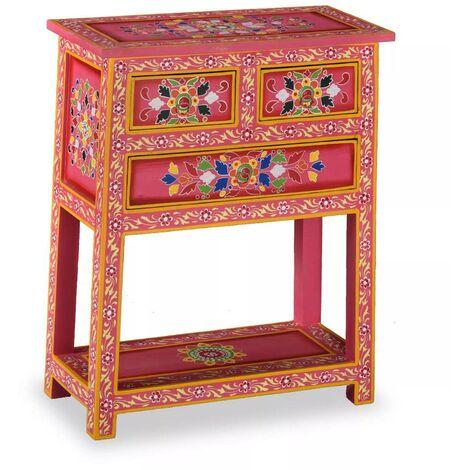 Topdeal Buffet avec tiroirs Bois massif de manguier Peinture rose