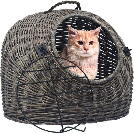 Topdeal Cage de transport pour chats Gris 45x35x35 cm Saule naturel