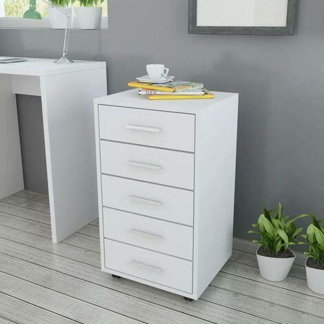 Topdeal Caisson à tiroir de bureau avec roulettes et 5 tiroirs blanc