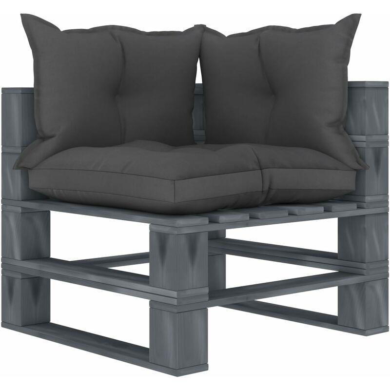 Canapé d'angle palette de jardin avec coussins taupe Bois