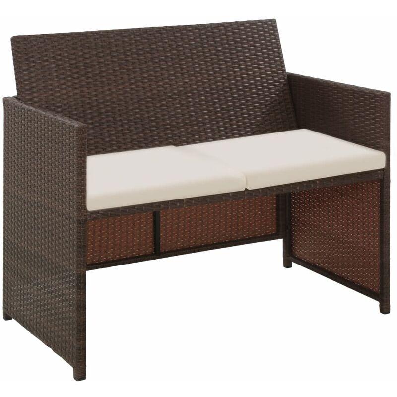 Canapé de jardin à 2 places avec coussins Marron Résine tressée - Topdeal