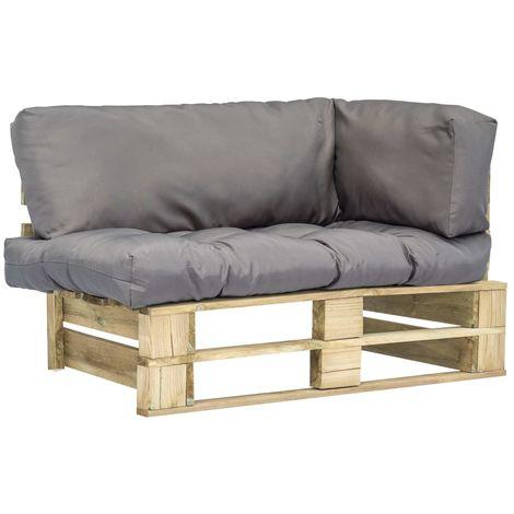 Topdeal Canapé de jardin palette avec coussins Gris Pinède FSC