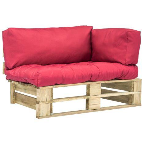 Topdeal Canapé de jardin palette avec coussins Rouge Pinède FSC