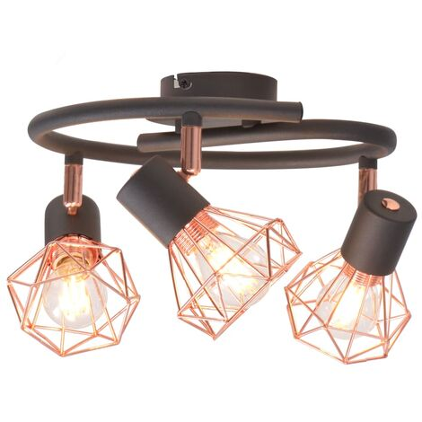 Topdeal Ceiling Lamp with 3 Spotlights E14 Black and Copper VDTD10499